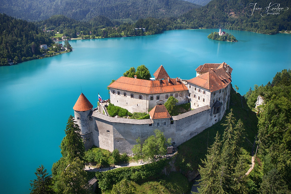 Aerial view of Bled Castle along the lake in Slovenia