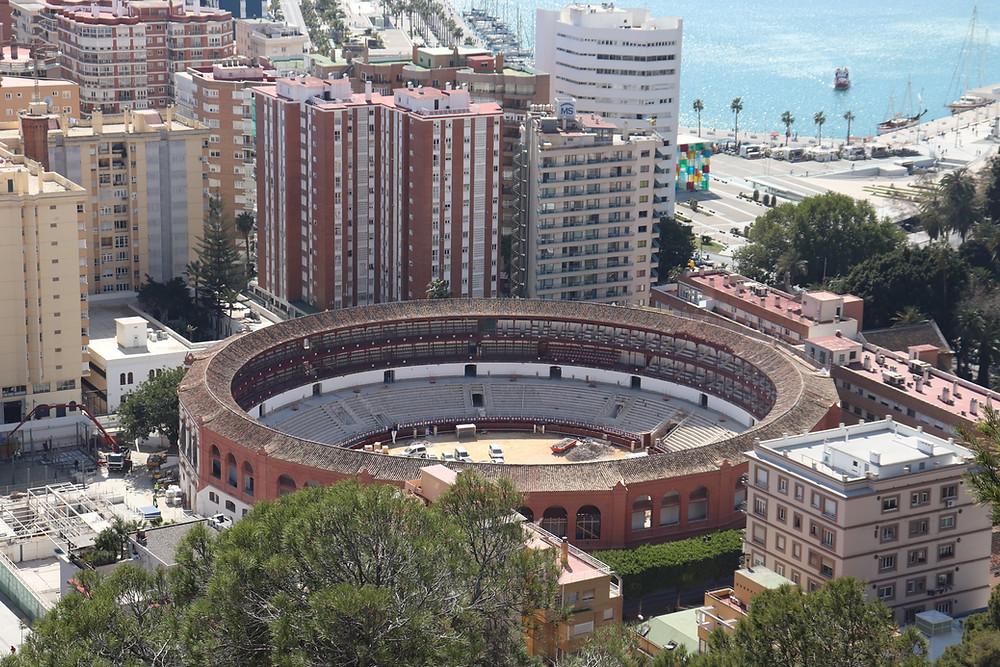 Gibralfaro Viewpoint looking at the bullring and port Malaga Spain