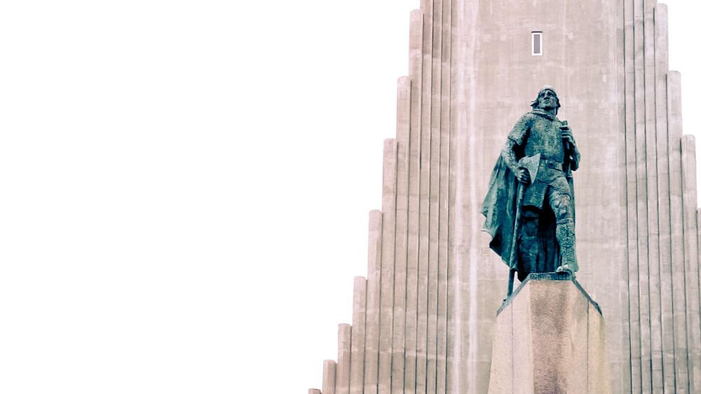 Leif Eriksson statue standing outside of the Hallgrimskirkja church in Reykjavik, Iceland