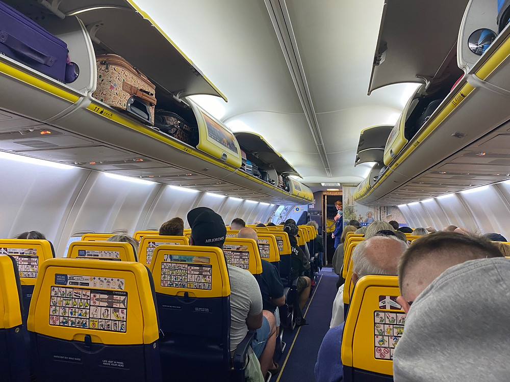 On board Ryanair pre-takeoff at Manchester Airport