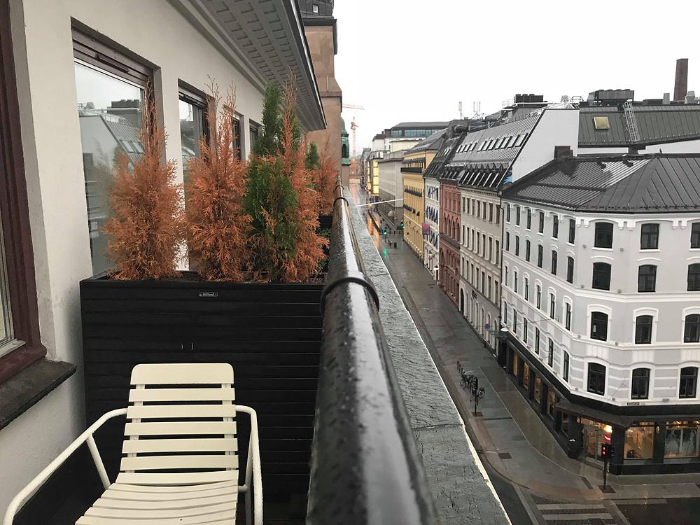 Balcony from the hotel room at Citybox Oslo, Norway