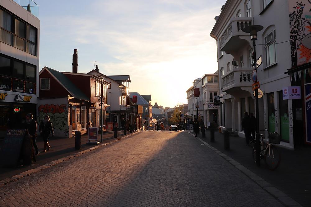 Reykjavik main shopping street at sunset Iceland