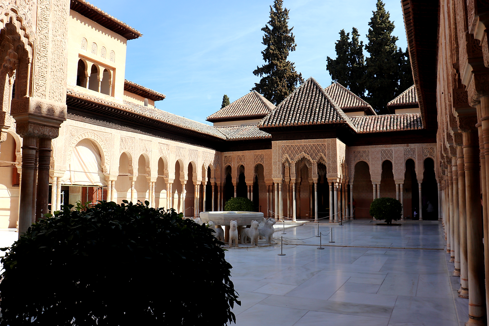 Inside the Nasrid Palaces in one of the courtyards in Granada, Spain