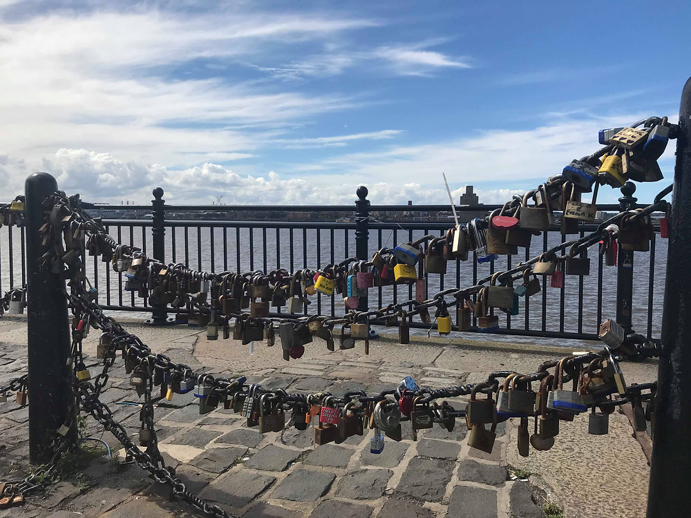 Love locks along the waterfront in Liverpool, England