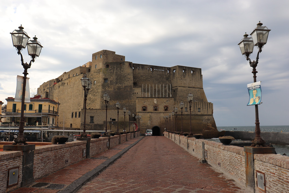 Castel dell'Ovo on waterfront in Naples Italy