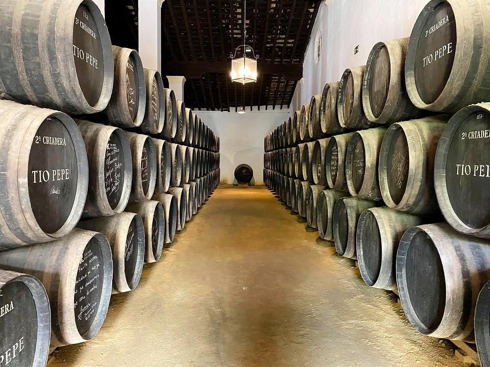 Tío Pepe barrels lined up inside the bodegas in Jerez, Cadiz