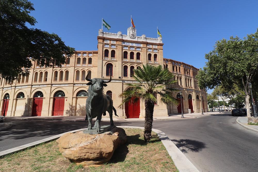 Plaza de Toros with bull statue in El Puerto de Santa Maria, Cadiz, Spain