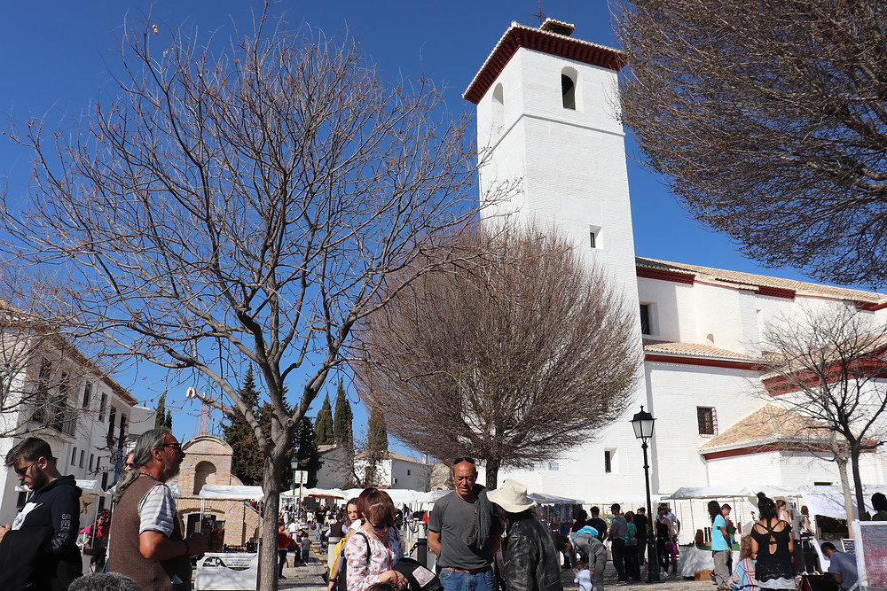 Mirador de San Nicholas view point with church in Granada Spain