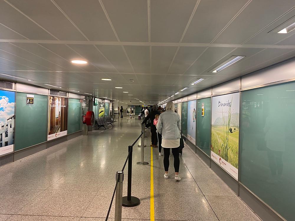 Queue for passport control at Malaga Airport