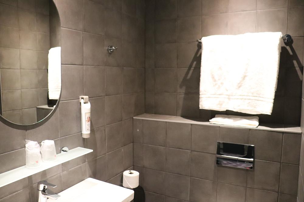 Modern bathroom inside the hotel room ibis tallinn city center, estonia
