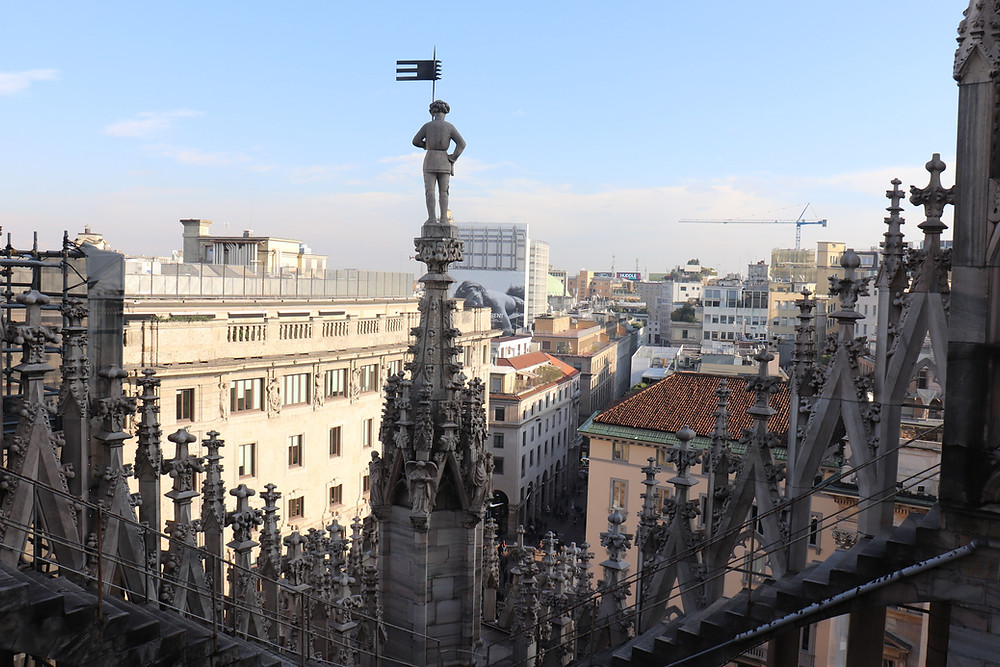 View of Milan from the rooftop of the Duomo