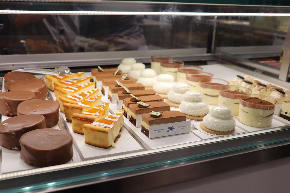 Selection of cakes in a cafe in Granada Spain