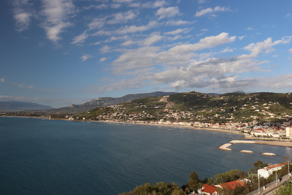 View of Agropoli coastline from the castle in Cilento Italy