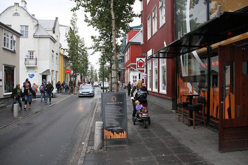 Laugavegur main shopping street in Reykjavik, Iceland