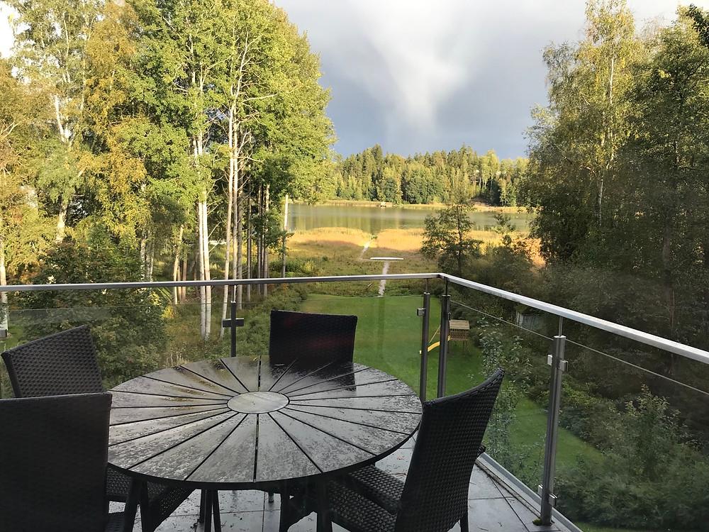 Master bedroom balcony overlooking Lake Tuusula, villa Tuusula Finland