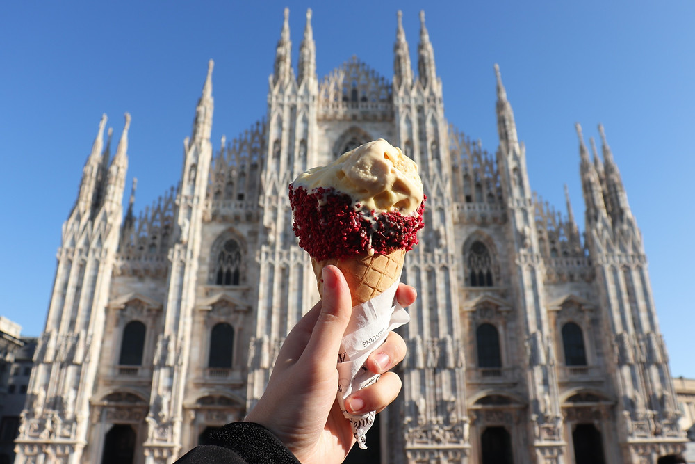 Gelato in front of the Duomo, Milan Italy