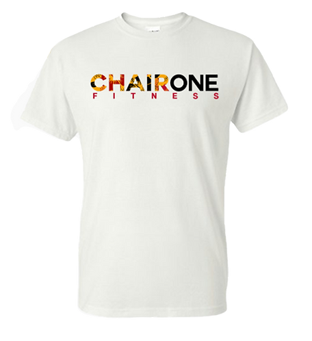 Chair One Fitness Floral Logo Tee - White