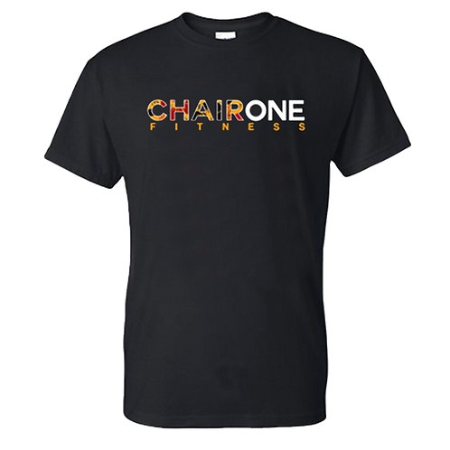 Chair One Fitness Floral Logo Tee - Black