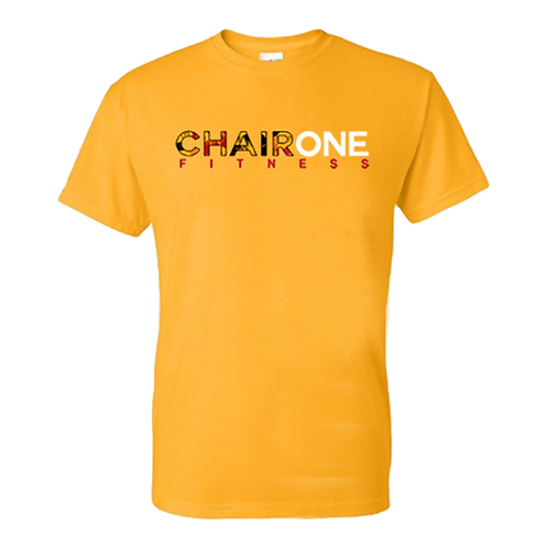 Chair One Fitness Floral Logo Tee - Yellow