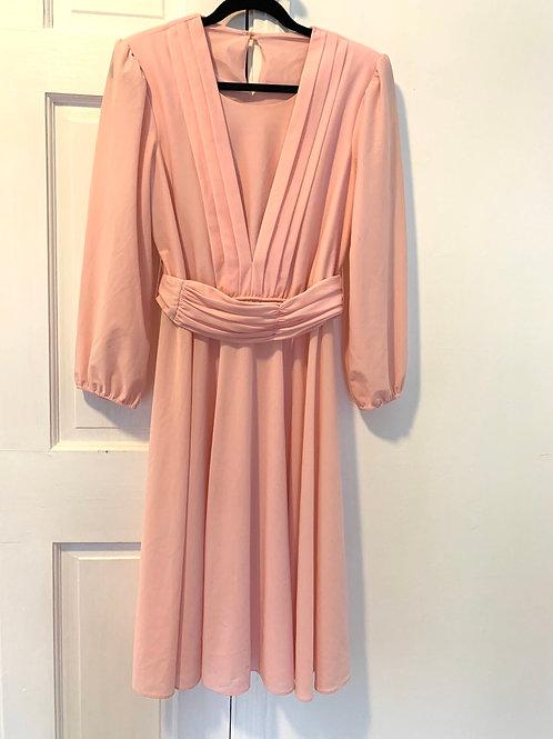 1980's Vintage Dress -Fits size 10-14 (elastic waist & belt detaches)