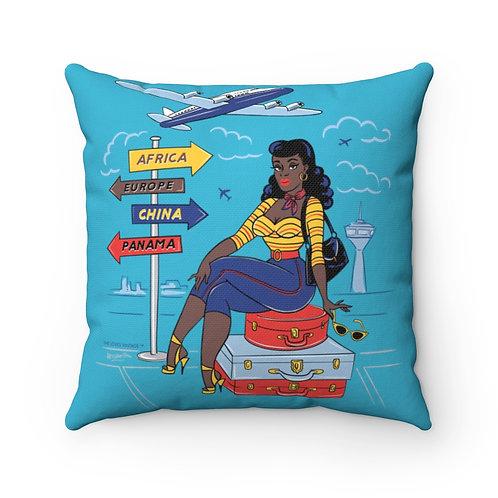 She Travels Antique Sapphire Blue Square Pillow