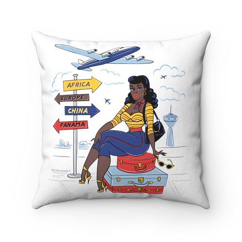 She Travels White Square Pillow