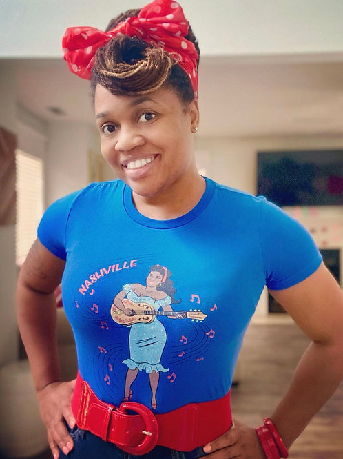 The Sounds of Rosetta Royal Blue Pin Up Tee