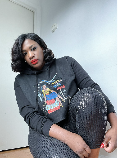 She Travels Cropped Hoodie