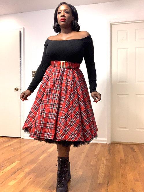 1950's Swing Tartan Skirt- Petticoat not included