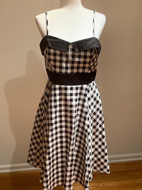 Black and White Striped Retro Swing Dress-Size XL