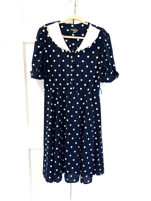 Vintage 1980's Whirlaway Frocks Navy Polka Dot Dress- Size 14 petite