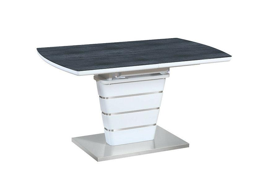Esstisch ausziehbar mit Glasplatte 140/180 cm in Weiss mit Platte in Dunkelgrau