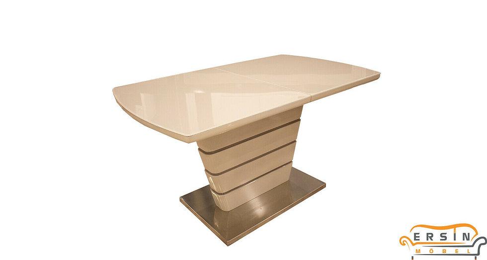 Esstisch ausziehbar in matt Cappucino mit Glasplatte