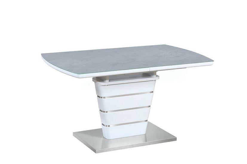 Esstisch mit Glasplatte 140/180cm in Weiss mit Hellgrau