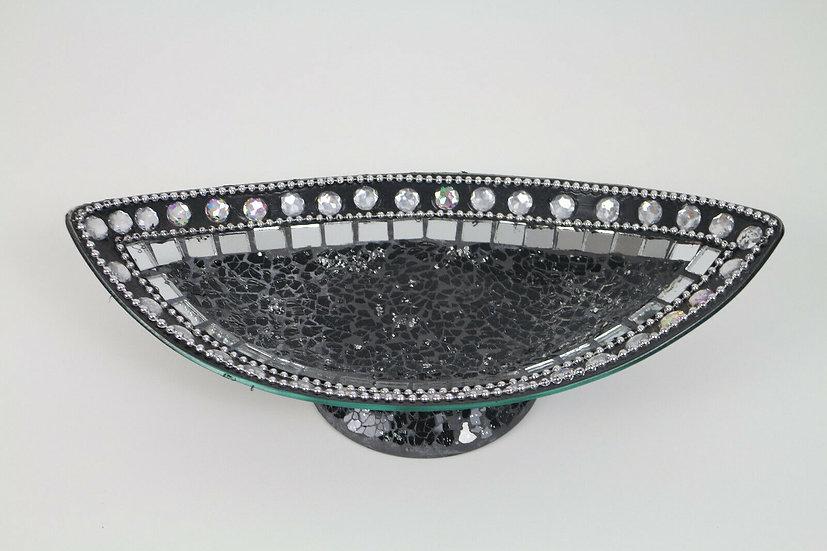 Dekoschale Gondelform; Mosaikglas, Craquelé Glas (Schwarz und Silber)