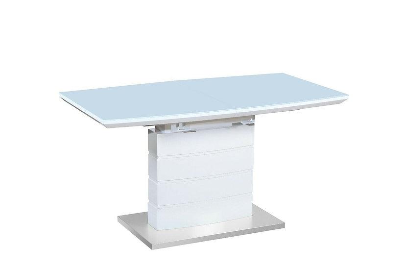 Esstisch mit Glasplatte 160 CM in Hochglanz Weiss mit Hellgrau