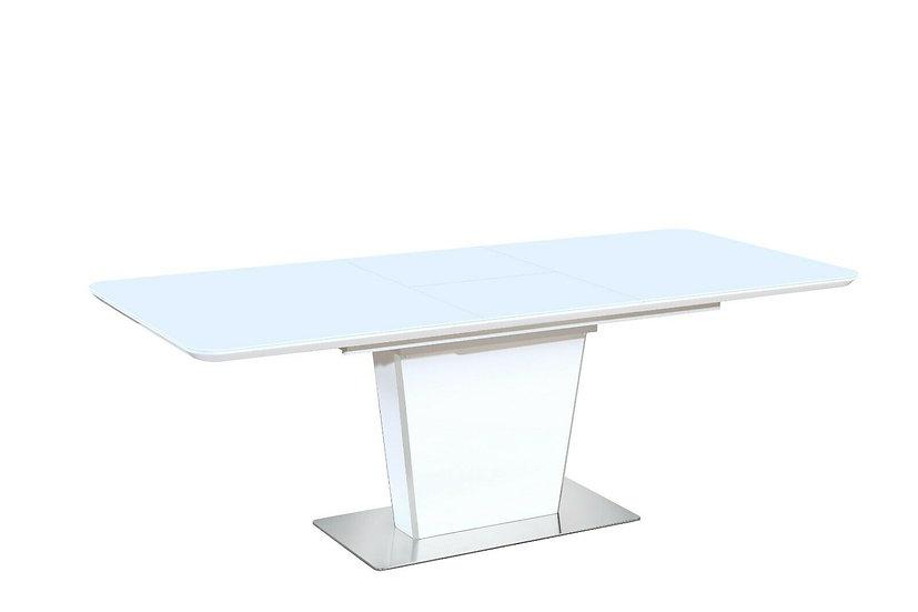 Esstisch ausziehbar in Hochglanz Weiss mit Glasplatte 160/210 CM