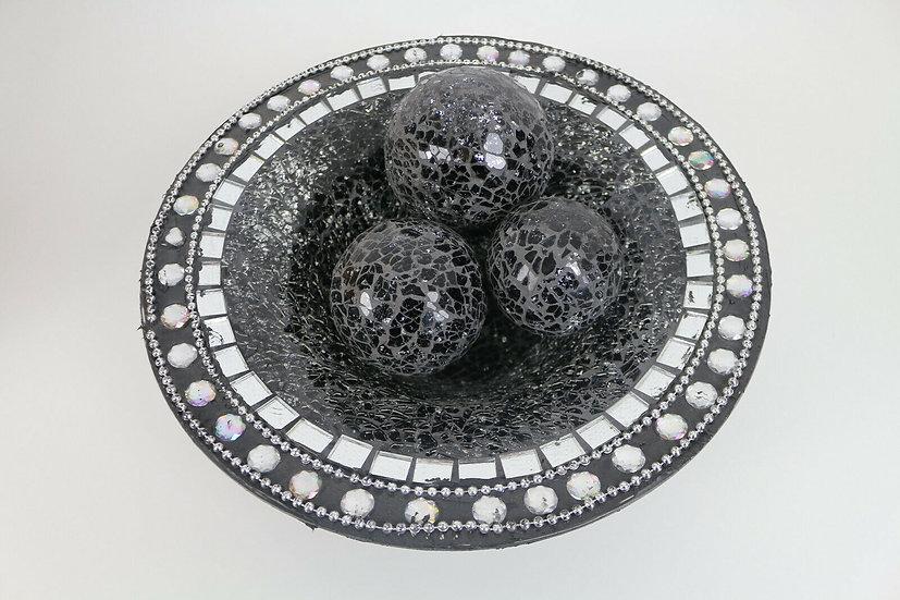 Dekoschale; Mosaikglas, Craquelé Crackle Glas mit 3 Kugeln (Schwarz und Silber)