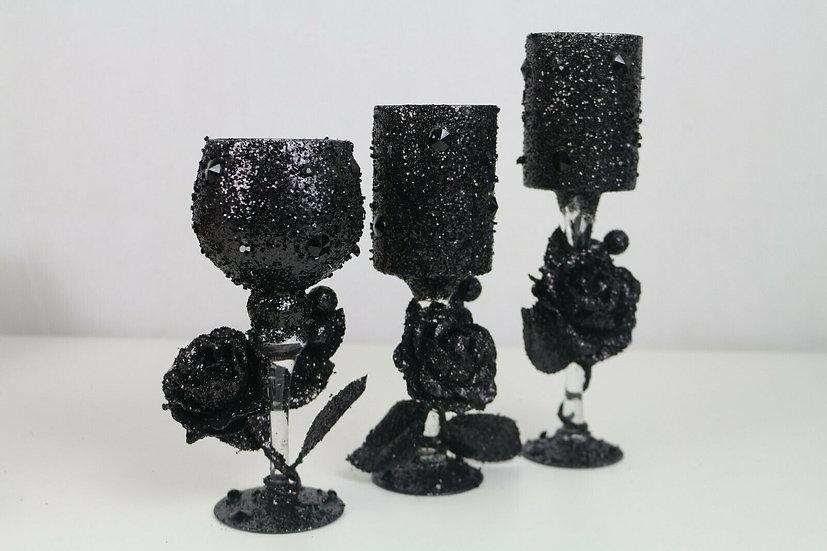 3 x Kerzenglas-/Teelichtglasset mit Glitzer, flackernd, Kerzenhalter, Windlicht