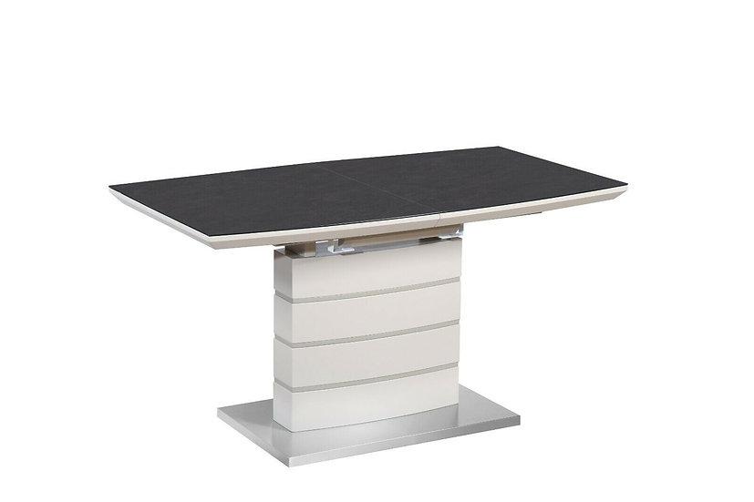 Esstisch ausziehbar 140/180 cm in Beige mit matt Latte Platte