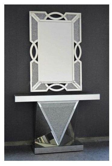 Hängespiegel, quadratisch mit passender Console, Diamantoptik, 105 x 70cm