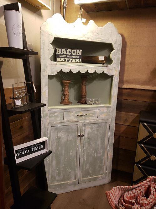 Very Old Chippy Green Corner Cabinet