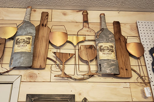 Metal and Wood Wine Lovers Wall Art