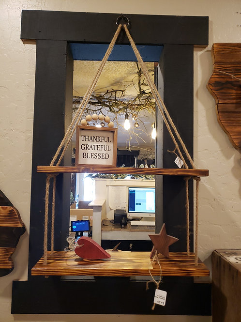 2 Tiered Stained Rope Shelf