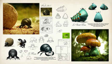 dung beetle and caterpillar