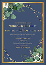 Greenery, navy and gold wedding invitation