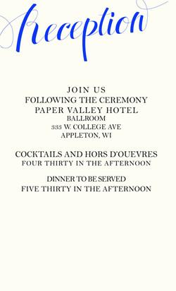 Royal Love reception card