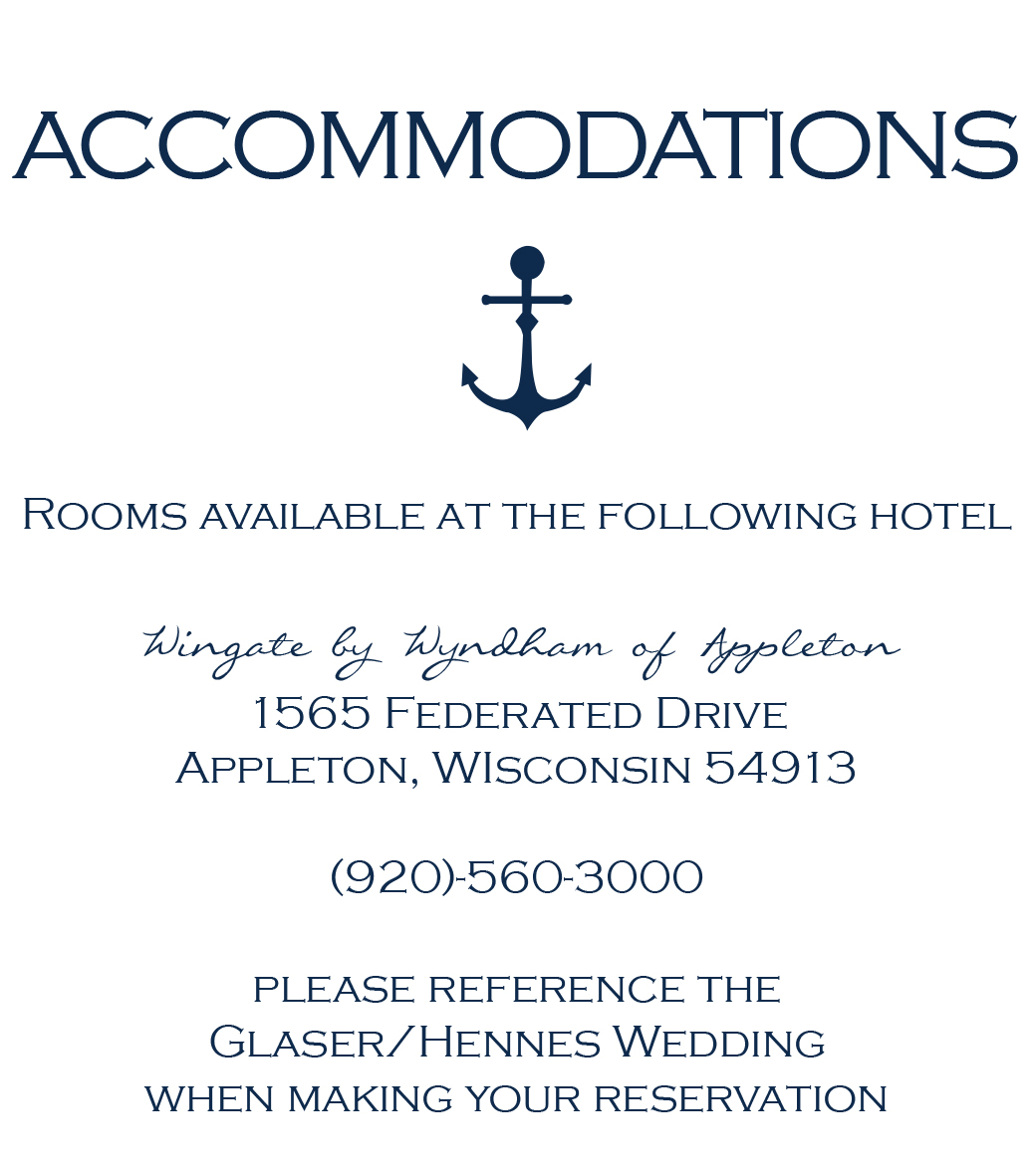 Sailing Away accommodations card