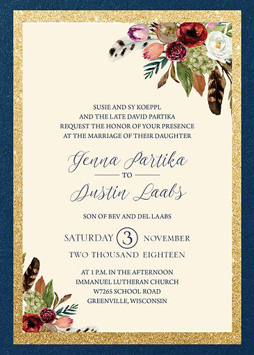 Fins and Feathers Wedding suite, single pocket with glitter gold and unique styling with various flower design