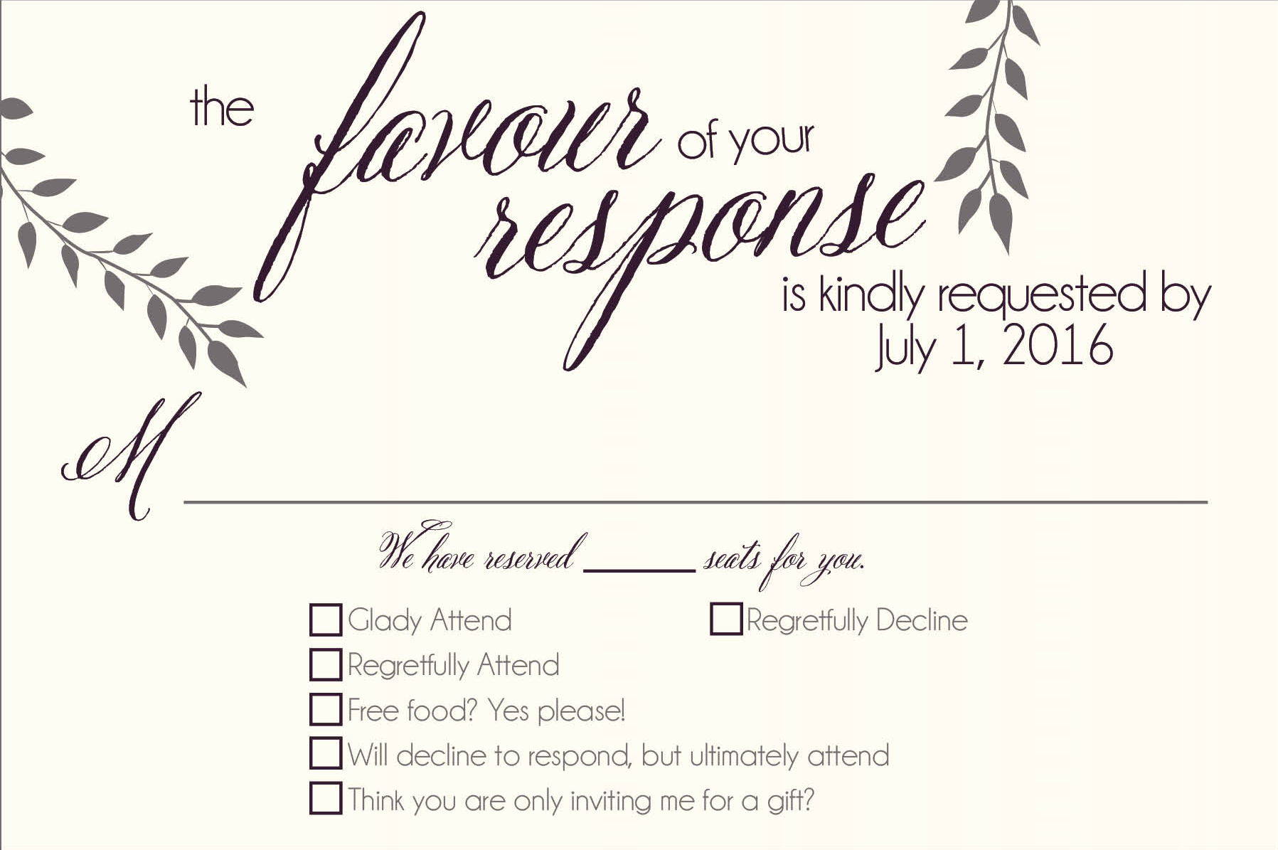 Vineyard Valley response card